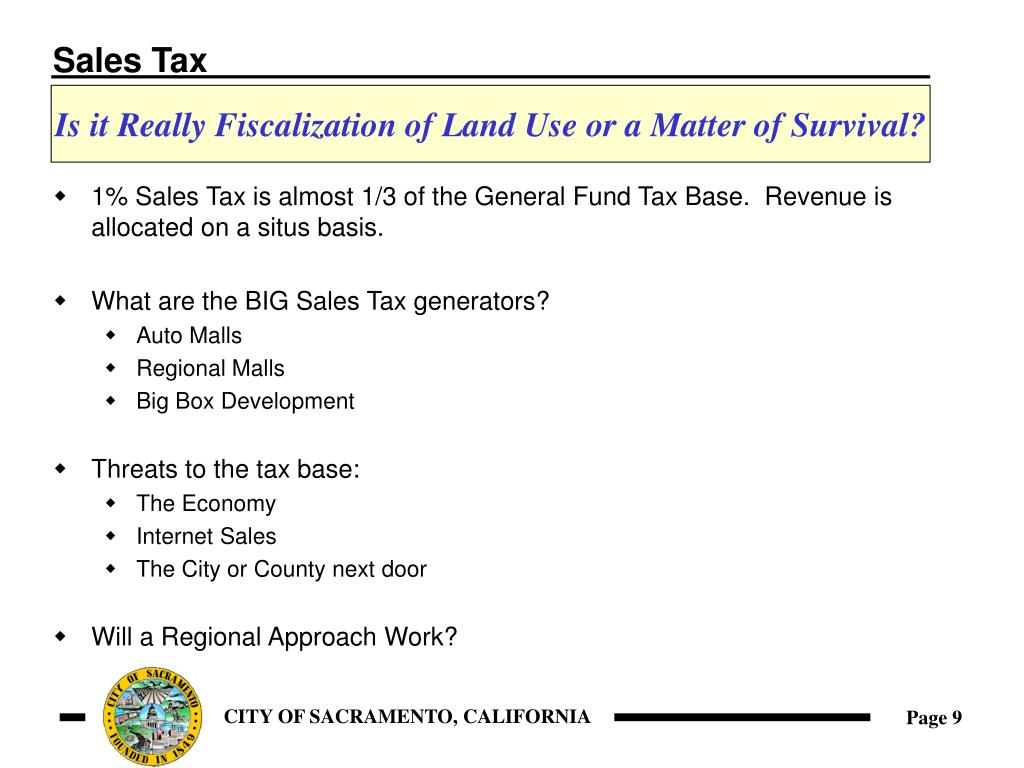 1% Sales Tax is almost 1/3 of the General Fund Tax Base.  Revenue is allocated on a situs basis.