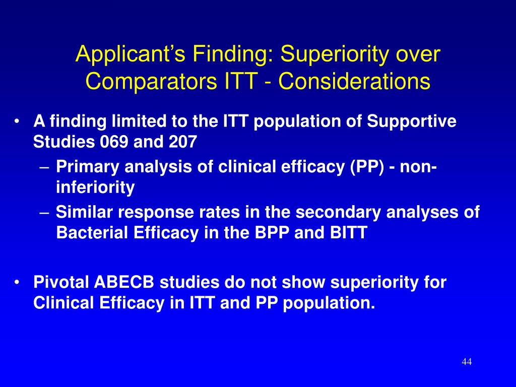 Applicant's Finding: Superiority over Comparators ITT - Considerations