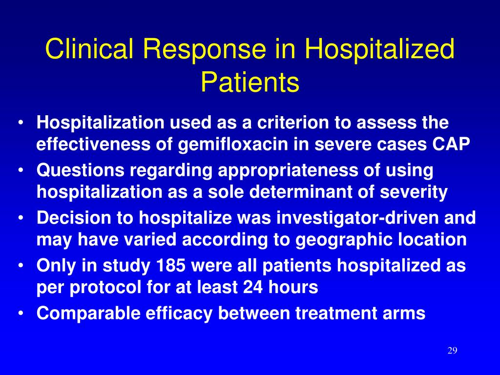 Clinical Response in Hospitalized Patients