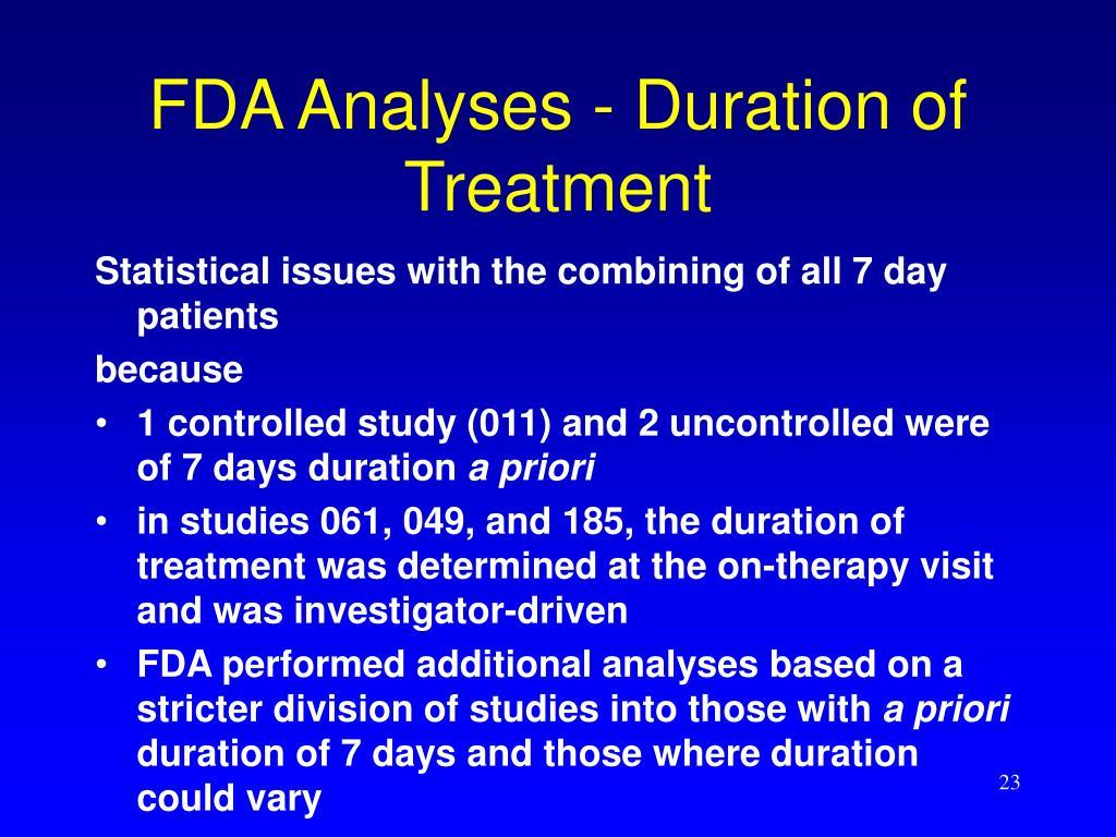 FDA Analyses - Duration of Treatment
