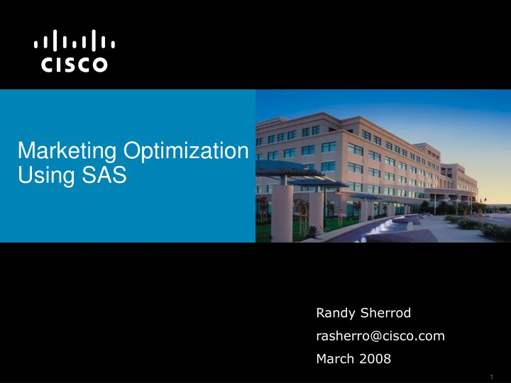 Marketing optimization using sas l.jpg