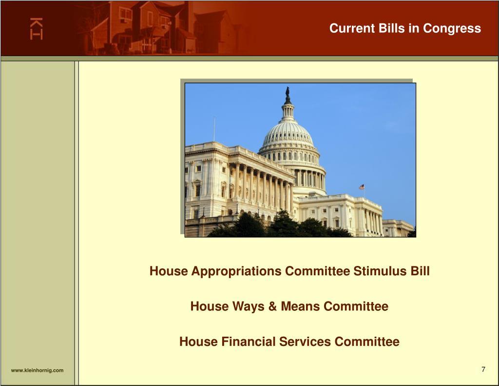 Current Bills in Congress