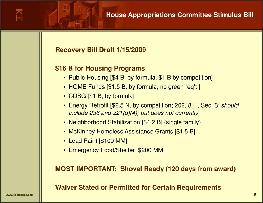 House Appropriations Committee Stimulus Bill