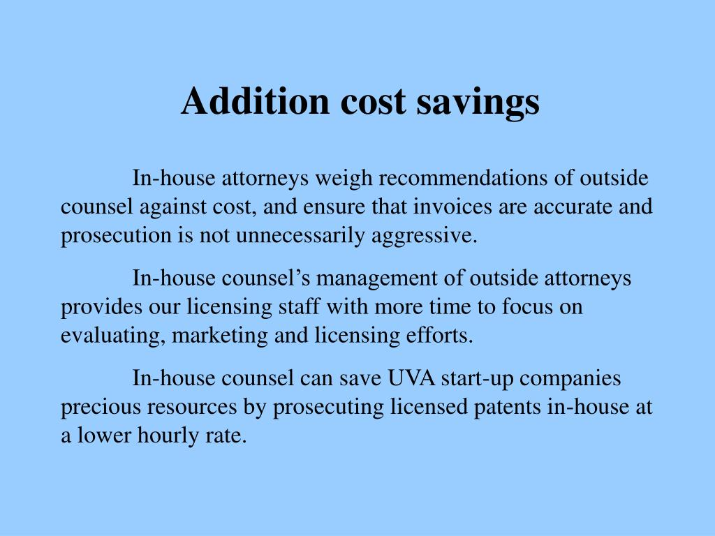 Addition cost savings