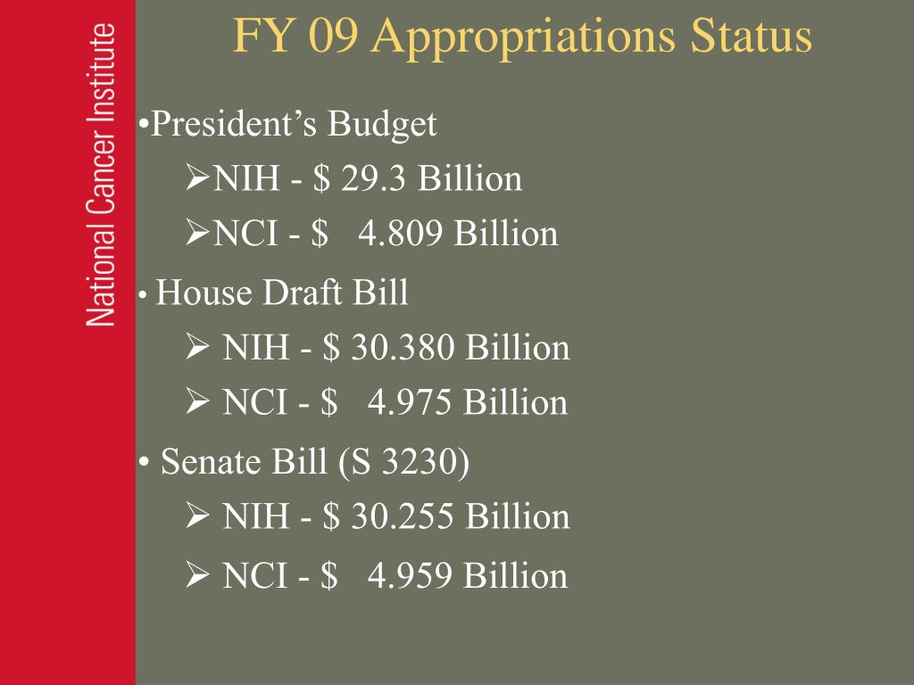 FY 09 Appropriations Status