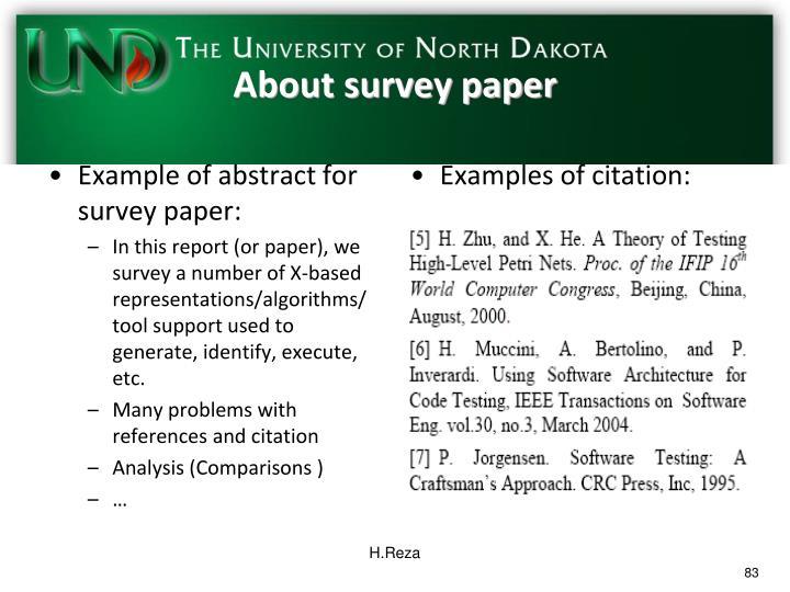 About survey paper