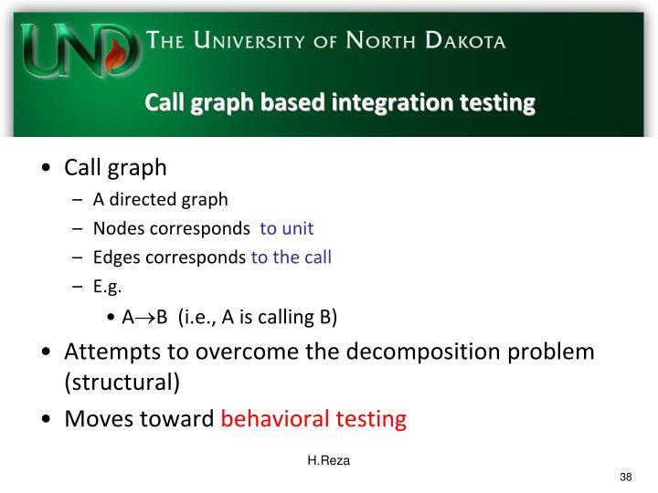 Call graph based integration testing