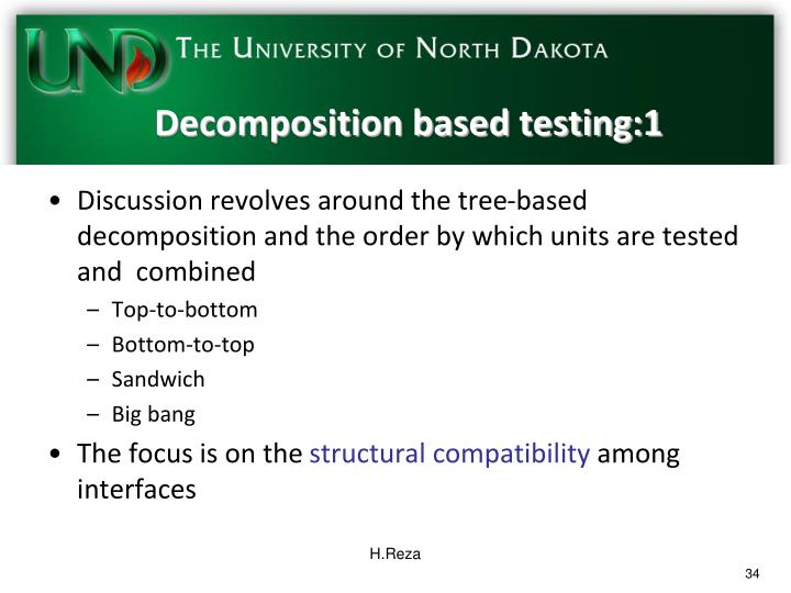 Decomposition based testing:1