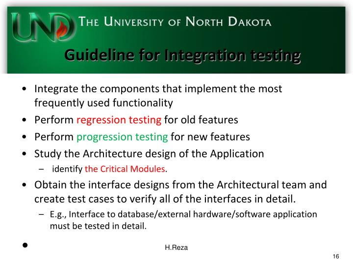 Guideline for Integration testing