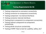 testing requirements for sa