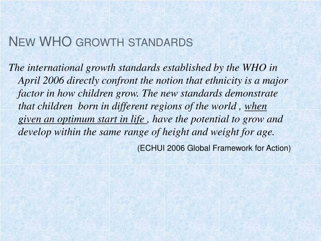 New WHO growth standards