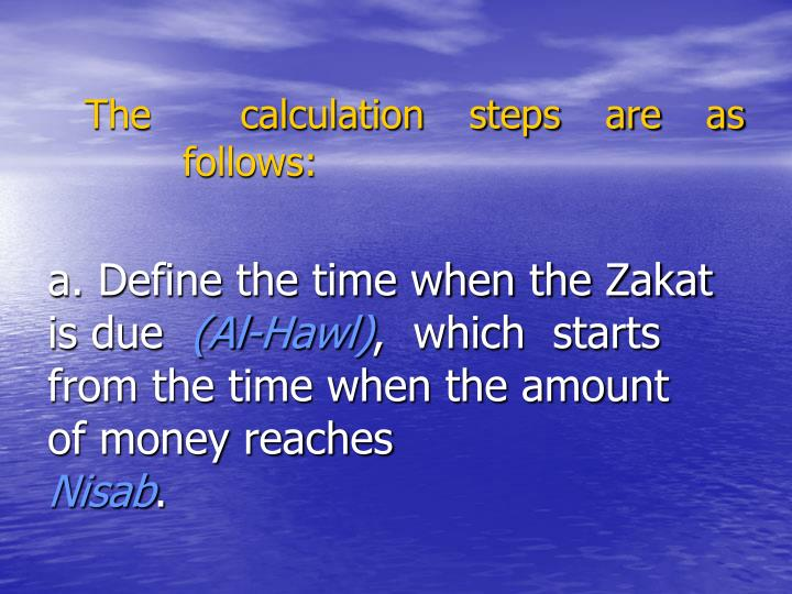 The  calculation steps are as follows: