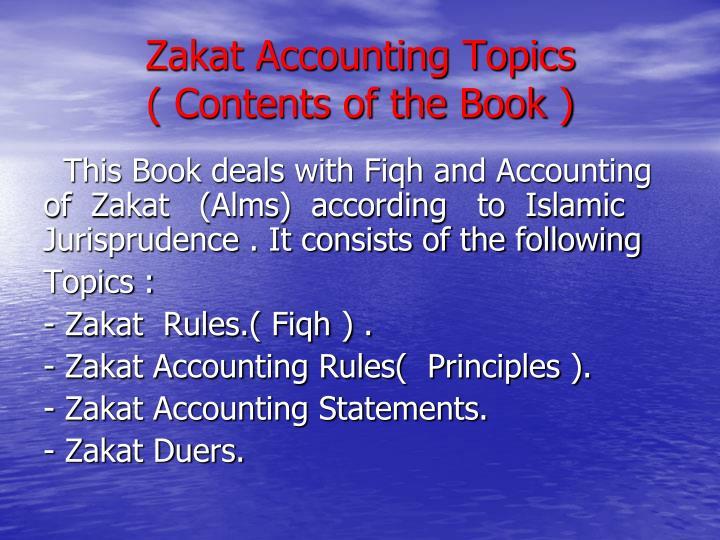 Zakat Accounting Topics