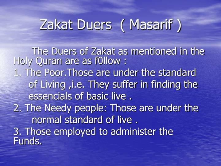 Zakat Duers  ( Masarif )