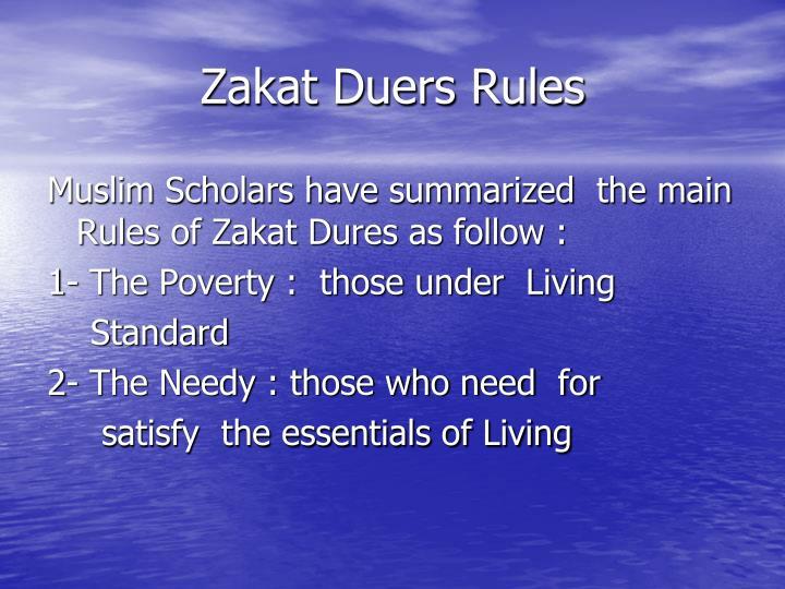 Zakat Duers Rules