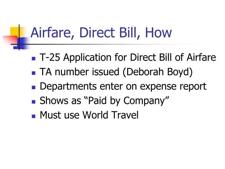Airfare, Direct Bill, How