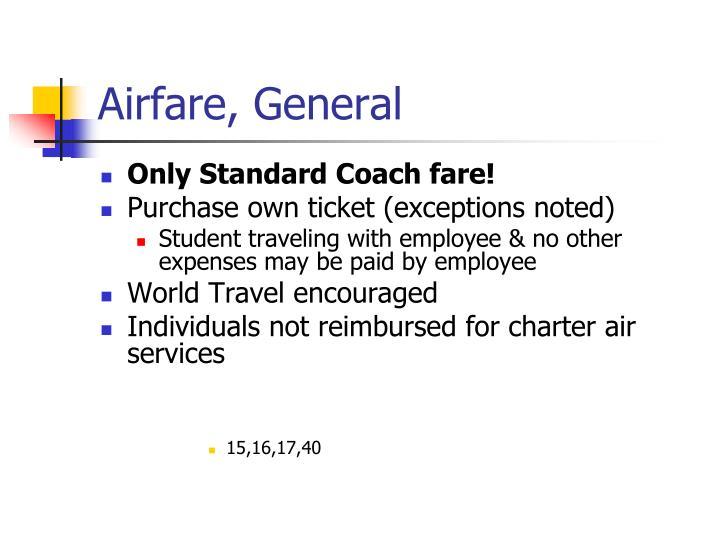 Airfare, General