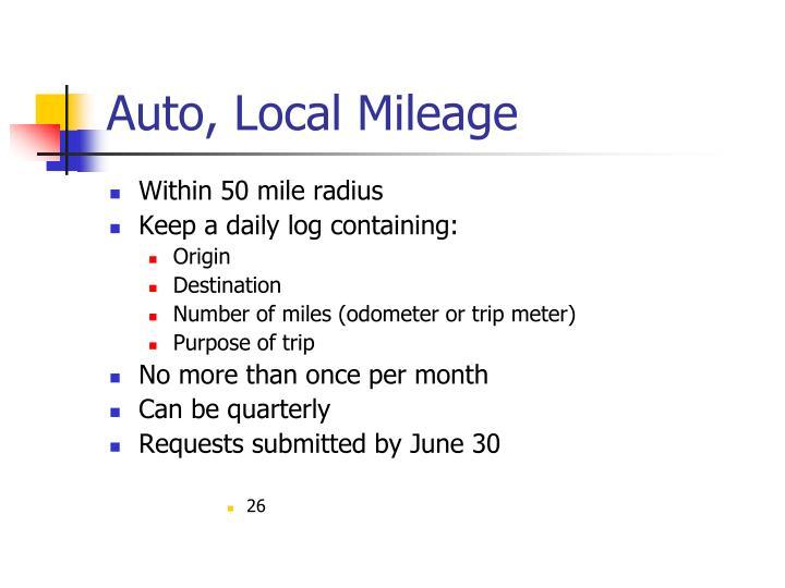 Auto, Local Mileage