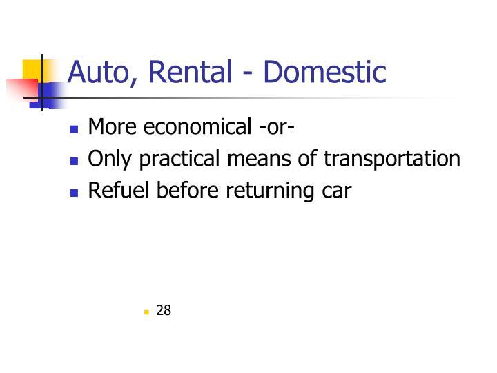 Auto, Rental - Domestic