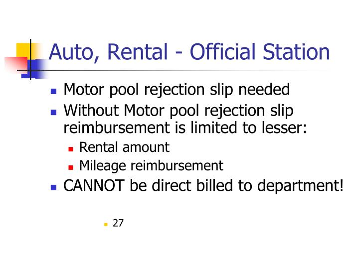 Auto, Rental - Official Station