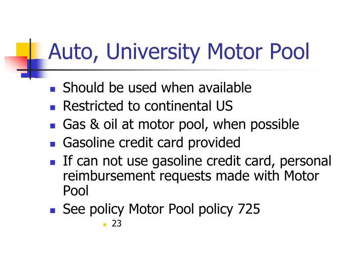 Auto, University Motor Pool