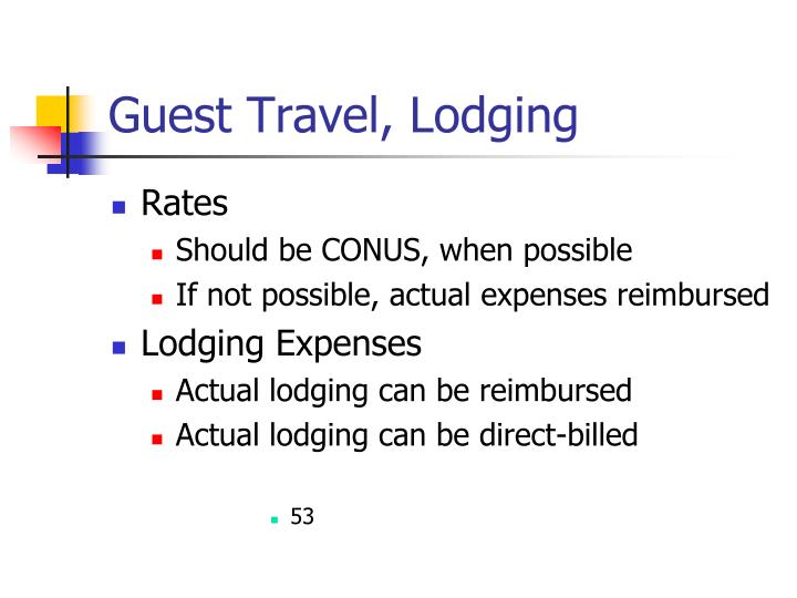Guest Travel, Lodging