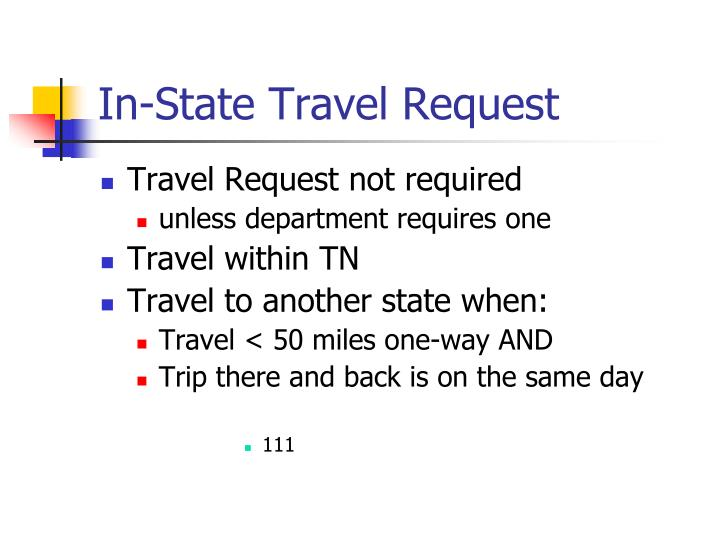 In-State Travel Request