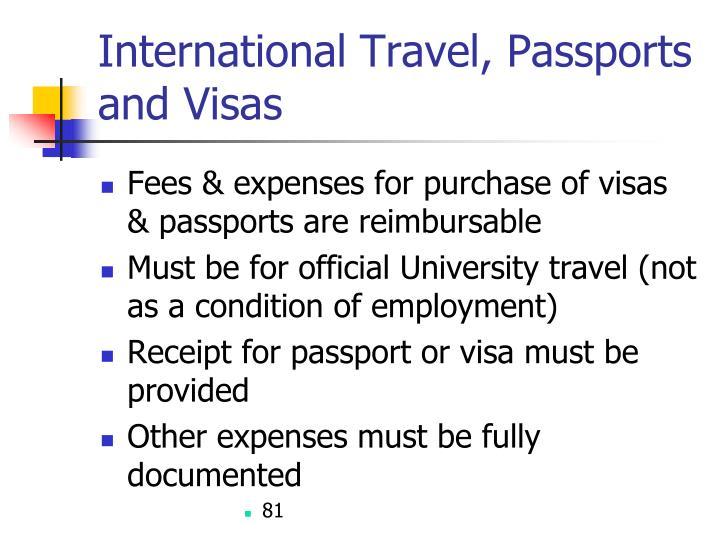 International Travel, Passports and Visas