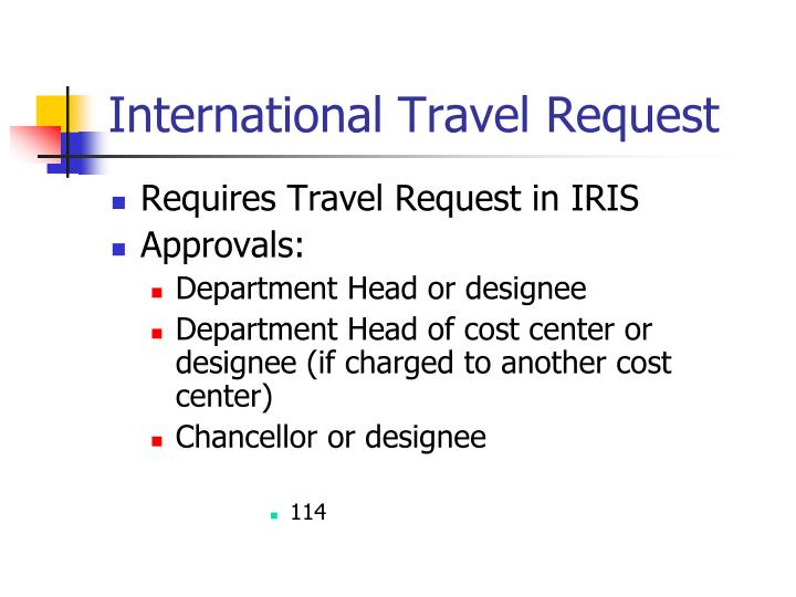 International Travel Request