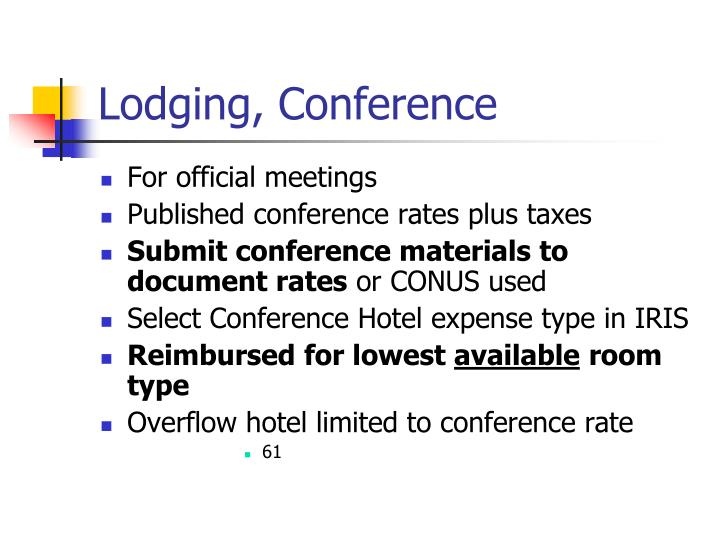 Lodging, Conference