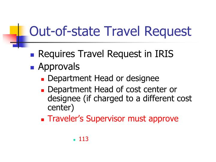 Out-of-state Travel Request