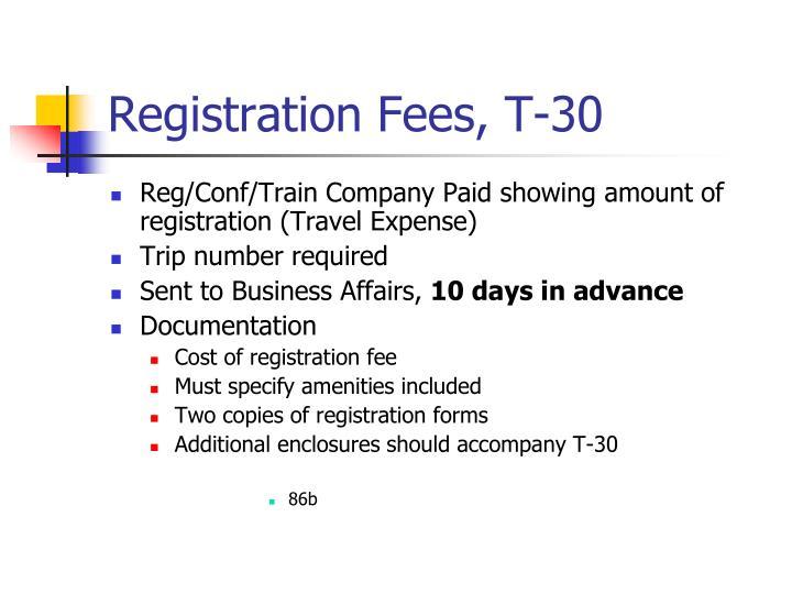 Registration Fees, T-30