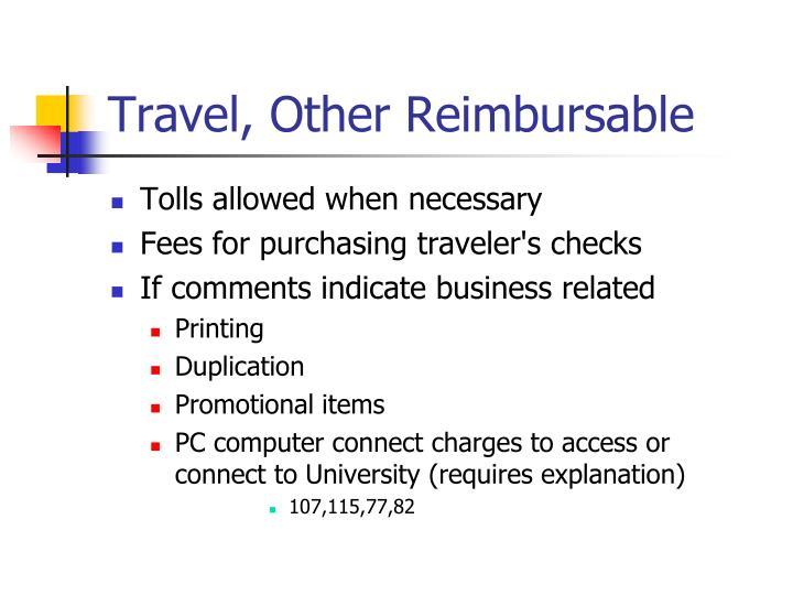 Travel, Other Reimbursable