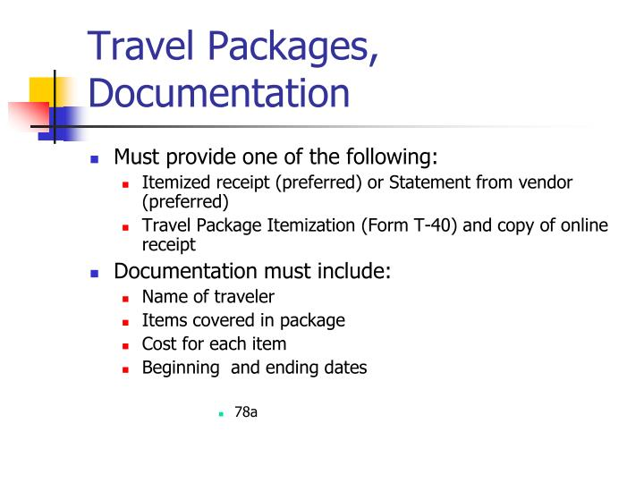 Travel Packages, Documentation