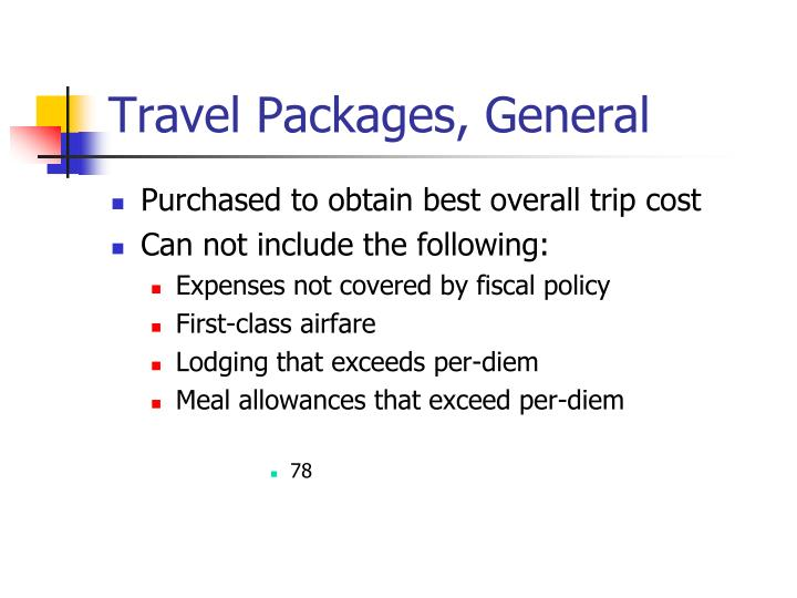 Travel Packages, General