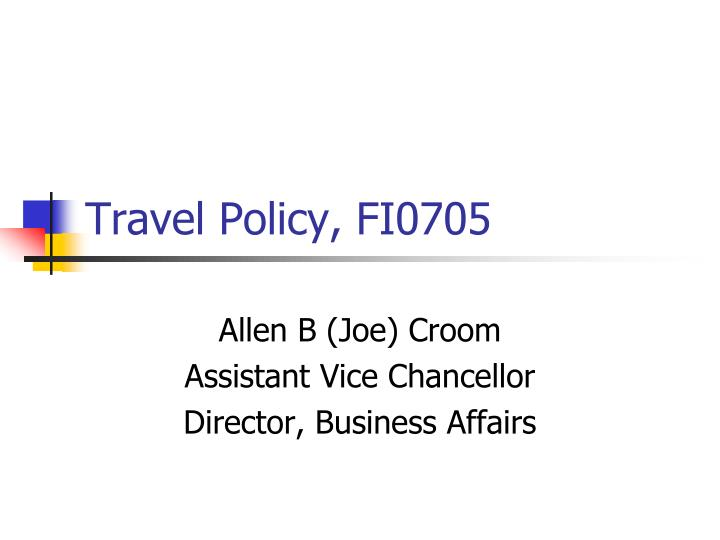 travel policy fi0705