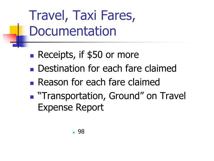 Travel, Taxi Fares, Documentation