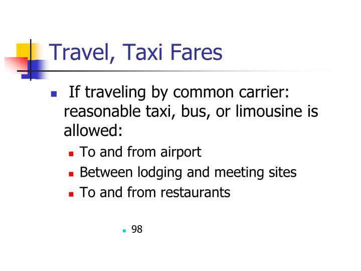 Travel, Taxi Fares