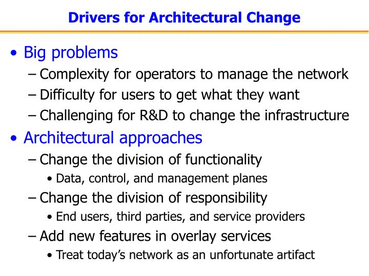 Drivers for architectural change
