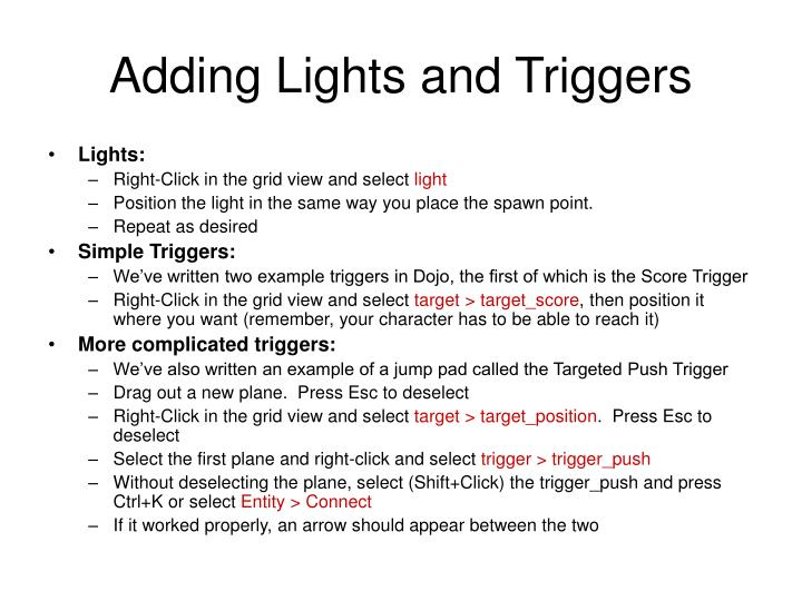 Adding Lights and Triggers