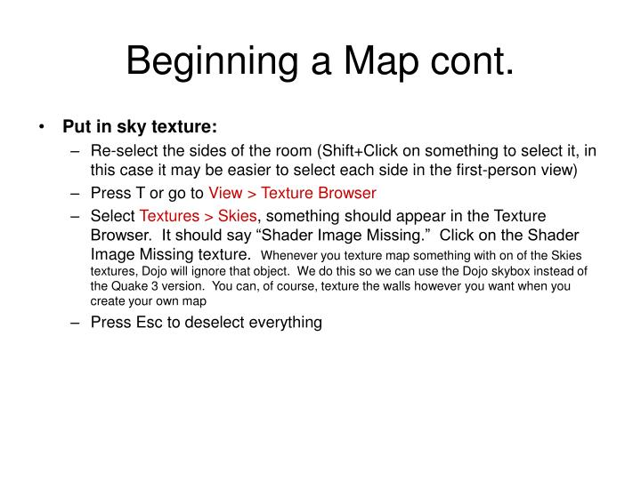 Beginning a Map cont.