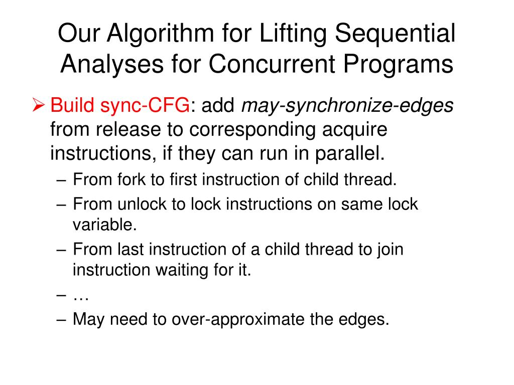 Our Algorithm for Lifting Sequential Analyses for Concurrent Programs