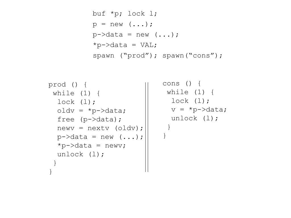 buf *p; lock l;