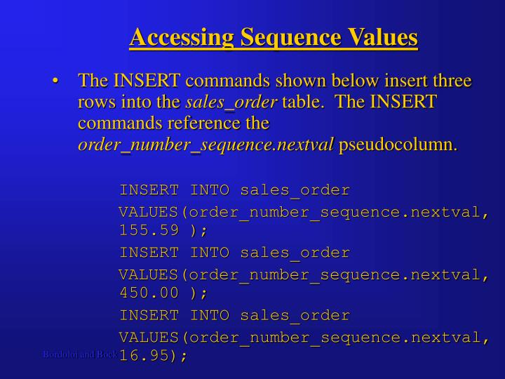 Accessing Sequence Values