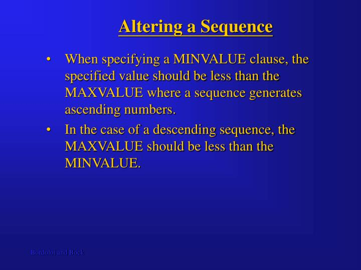 Altering a Sequence