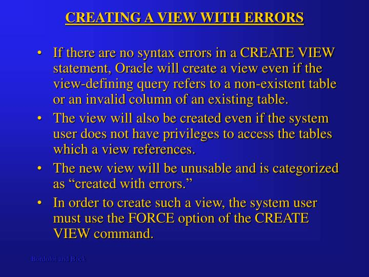 CREATING A VIEW WITH ERRORS