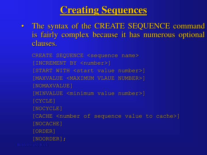 Creating Sequences