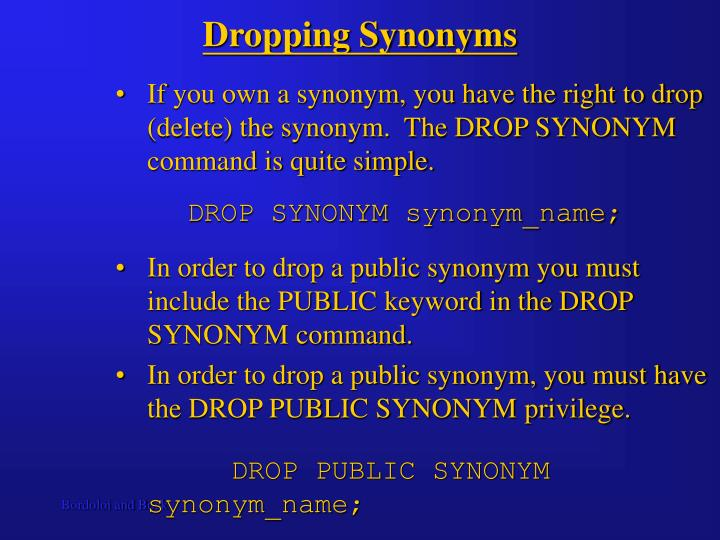 Dropping Synonyms