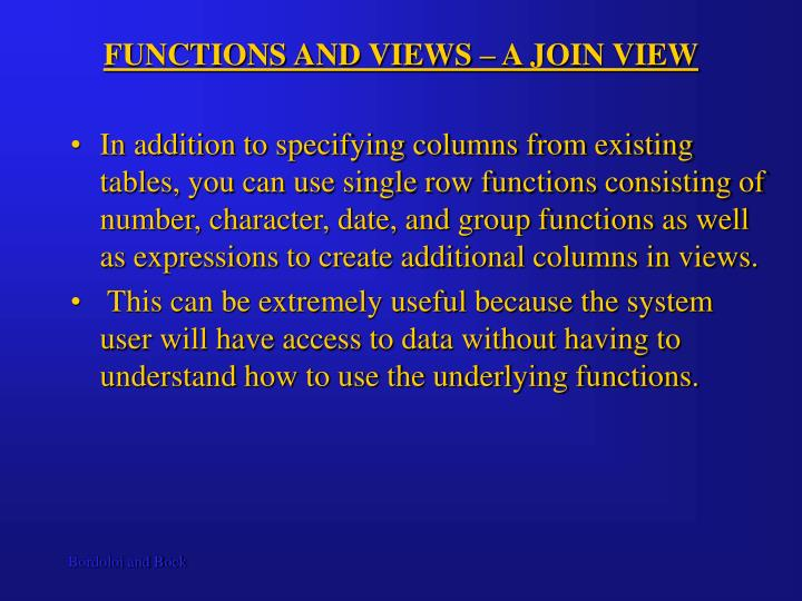 FUNCTIONS AND VIEWS – A JOIN VIEW