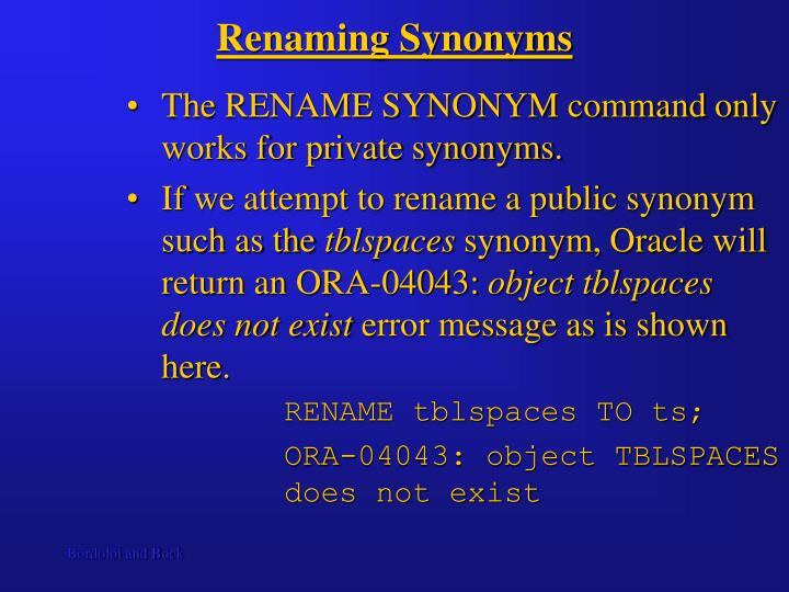Renaming Synonyms